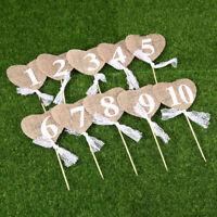 Rustic Jute Vintage Wedding Table Numbers 1-10 Hessian Burlap Heart Shape Decor
