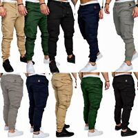 2018 Men's Slim Fit Urban Straight Leg Trousers Casual Pencil Jogger Cargo Pants