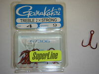 GAMAKATSU TREBLE HOOK ROUND BEND 2X STRONG #4 57308 RED TROUT BASS CATFISH HOOKS