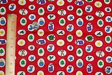 Christmas Tree Star Holly Stocking Cotton Fabric Quilt Sew 1yd