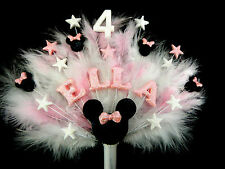 ANY NAME, AGE AND COLOUR MINNIE MOUSE STYLE  AND FEATHERS BIRTHDAY CAKE TOPPER