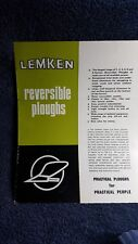 Lemken reversible ploughs 3 to 4 furrow sale brochure Colchester Tillage Ltd
