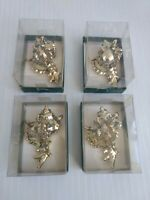 Gold Plated Porcelain Seashells Christmas Ornaments Taiwan ROC Set of 4 Dept 56