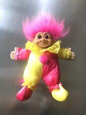 Russ Pink & Yellow Soft Body Bean Bag Clown Jester Troll Doll- 9 inch