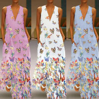 Summer Women Plus Size Print Sleeveless Dress Casual Loose Party Long Dresses