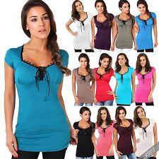 Hüftlang Damenblusen,-Tops & -Shirts im Tuniken-Stil mit V-Ausschnitt für Freizeit