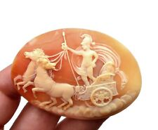 Relief Greek God Apollo Portrait Plaque Victorian Style Large Cameo Shell Carved