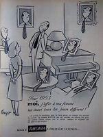 PUBLICITÉ DE PRESSE 1952 RHODIA A CHAQUE JOUR SA CRAVATE - POUZET - ADVERTISING
