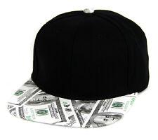 Money hat  Benjamin Hundred dollar pattern Baseball cap  Flat Faux Leather visor