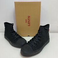 Levi's All Black Monochrome Mens Zip Ex L Mid Mono High Top Zipper Canvas Shoes