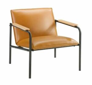 Sauder Boulevard Cafe Camel Leather-Like Metal Chair