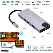 Universal Docking Station Type-C to HDMI+VGA+PD+USB3.0X2+SD/TF+ Network LAN Port