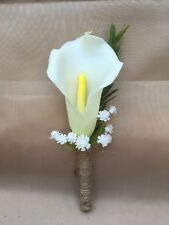 Real Touch Calla Lily Buttonholes Boutonnieres - Ivory - wedding