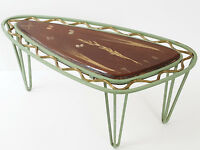 TABLE BASSE D'APPOINT TRIPODE METAL RESINE INCLUSION HERBIER 1950 VINTAGE 50'S