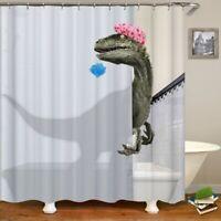3D Funny Dinosaur Print Polyester Fiber Shower Curtain Bathroom C/W 12 Hooks