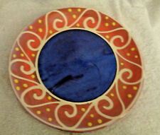 "Breakfast Plate Earthworks Barbados Pottery Blue Waves on Melon Studio Art 9"""