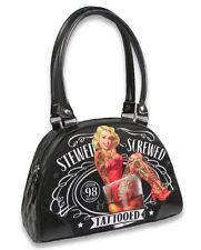 Liquor Brand Stewed Screwed Tattooed Punk Goth Small Bowling Bag Purse B-BW-030