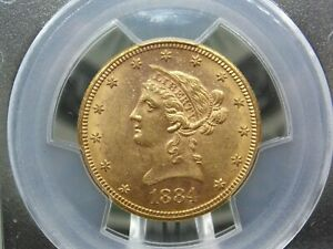 """1884 """"S"""" $10 Gold Liberty Eagle PCGS MS61 #989 East Coast Coin & Collectables"""