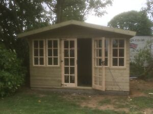 14x14 + 2ft Porch 19mm Tanalised Apex Gloucestershire Georgian Summerhouse, shed