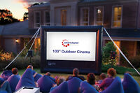 2.5m Outdoor / Home Movie Cinema Package -Inflatable Screen, Projector, Soundbar