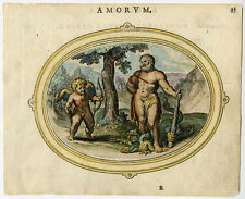 Antique Print-CUPID-CHERUB-HERCULES-HYDRA-LOVE SOURCE OF VIRTUE-Veen-1608