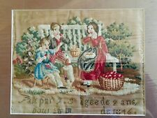 Antique Original 19th Century 1846 Needlepoint Embroidery Sampler Apple Picking