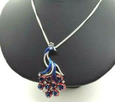 """Peacock Enamel Sapphire Sterling Silver 925 Necklace 11g 18"""" KOI677"""