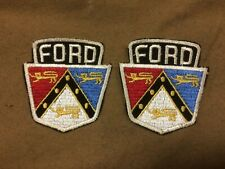 Original 1950's Ford dealer NOS sew on patches, tri-color Ford crest, pair