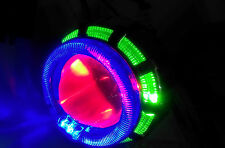 HID Double Ring Projector WITH COOLING FAN For CAR/ BIKE/ ENFIELD- GREEN- BLUE