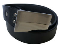 Men's Black Genuine Leather Belt Sz 34 Pin Buckle