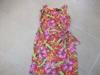 Sag Harbor Colorful Tropical Design Women's Size 8 Sleeveless Dress