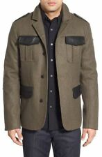 NEW MEN'S VICTORINOX OBERLAND WOOL & LEATHER MILITARY BLAZER JACKET SIZE LARGE