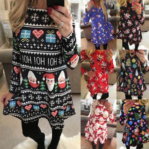 UK Womens Xmas Swing Christmas Nighty Long Sleeve Party Casual Ladies Mini Dress