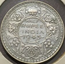 British India 1945 1/2 Half Rupee Lahore Mint-Nice Grade - Please See Pictures