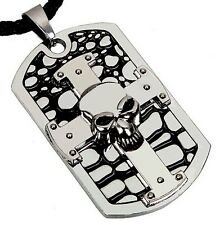 Stainless Steel Skull On Cross Dog Tags Pendant Necklace