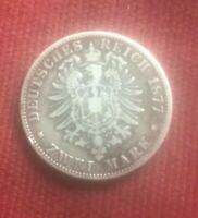 SILVER TWO MARK GERMAN COIN 1877 - j