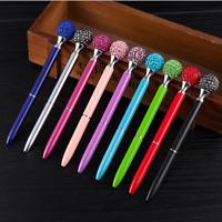 Diamond Ball Pen 10 Pieces Rhinestones Crystal Metal Ballpoint Pens Black Ink