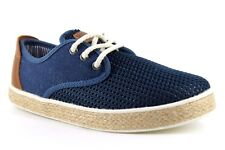 Next Kids UK 12 EU 32 Blue & Brown Canvas / Faux Leather Lace Up Casual Shoes