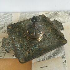 Ancien Encrier Bronze Doré Cavalier Perse XIXème Antique Inkwell 19thc