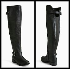 Torrid Size 7W Black Buckle Faux Leather Over The Knee Boots #223