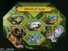 World of Owls minisheet of 4 stamps mnh Solomon Islands 2015