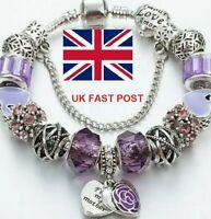Crystal Charm Bracelets Silver Bracelet Women Ladies Bead Mum Christmas Gift UK