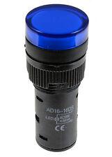 Azul Luz Piloto Led De 16 Mm indicador de advertencia Lámpara Panel de montaje 220v