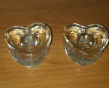 GLASS HEART CANDLE BASES (2)