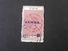 "**SAMOA, SCOTT # 158, 10/- VALUE LAKE 1932 NZ POSTAL-FISCAL OVPT ""SAMOA"" USED"