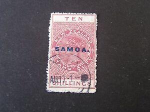 """**SAMOA, SCOTT # 158, 10/- VALUE LAKE 1932 NZ POSTAL-FISCAL OVPT """"SAMOA"""" USED"""
