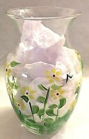 """Vase Hand Painted Glass Vase Yellow Daisies and Greenery 8"""" Tall Kathy H. Fick"""