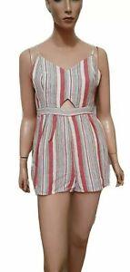DOTTI Label Womens Stripped Cut Out Linen Playsuit Jumpsuit, Size 14