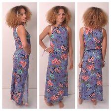 Full Length Cotton Blend Halterneck Floral Dresses for Women