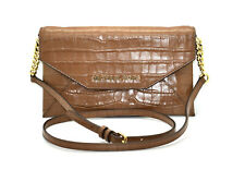 D0 NWT MICHAEL KORS Brown Croc Embossed Leather MD Envelop Clutch Bag $348